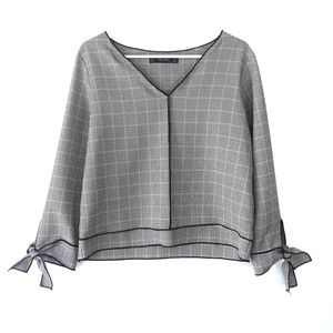 Zara Houndstooth Print Long Sleeve Top